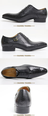 Leather Snake Skin Prints Business Dress Classic Style Coffee Black Lace Up Oxford Shoes