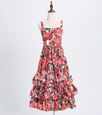 Fashion Designer Runway Ball Gown strap Backless Floral Dress