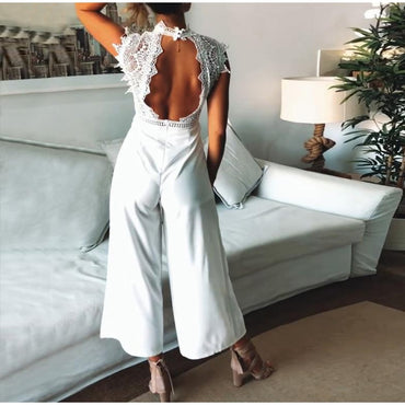 Sexy Sleeveless Backless Ruffled Jumpsuit Elegant Hollow Out Romper