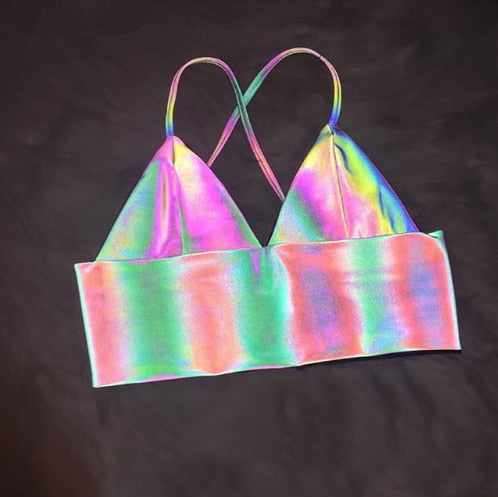 V Neck Sexy Holographic Bralette Crop Top Strap Reflective Fashion