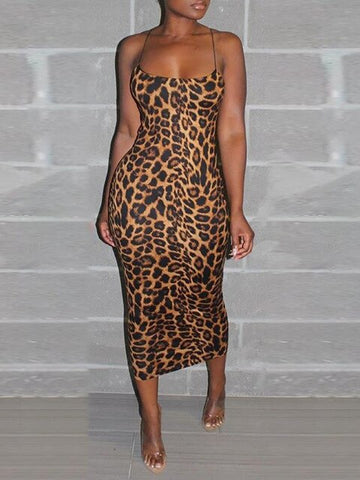 Elegant Sexy Midi Sheath Party Club Slim Fit Midi Leopard Print Bodycon Dress
