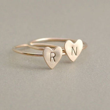 Personalized Hand Stamped Stacking Letters Initial Tiny Heart Rings