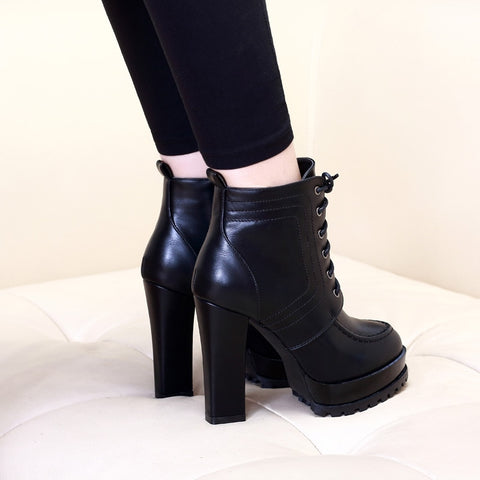 Sexy Ankle Lace Up Solid Pumps Shoes Square Heels Motorcycle Boots