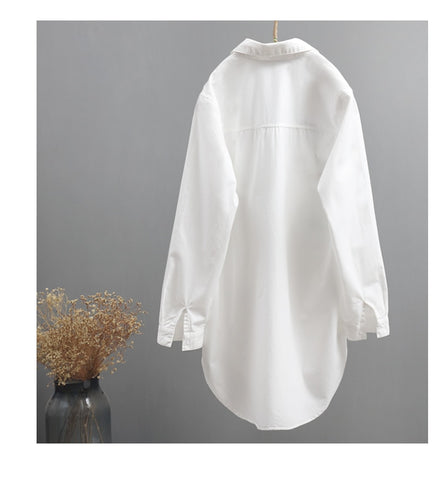 letter embroidery white shirts office lady long loose casual blouse