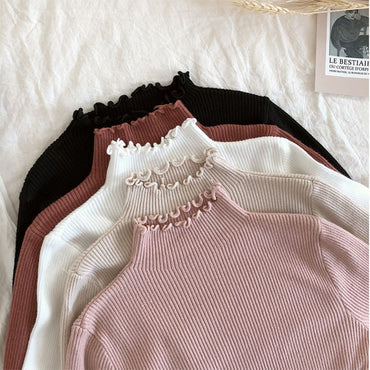 Sweater Slim Sexy Knitted Turtleneck Ruched High Elastic