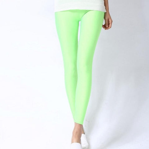Solid Color Fluorescent Spandex Elasticity Casual Trousers Shinny Legging