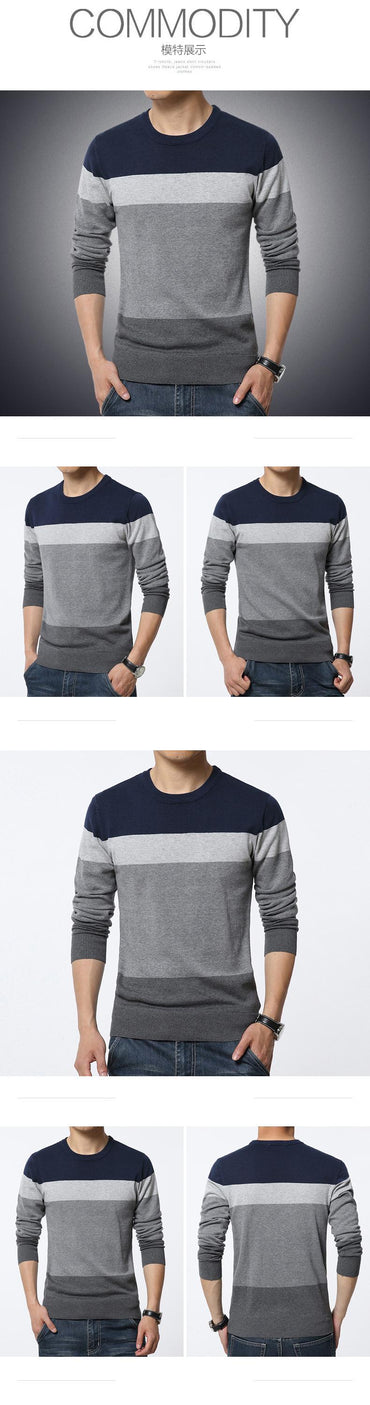 Casual O-Neck Striped Slim Fit Knittwear Sweaters Pullovers