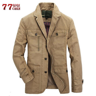 Military Blazer Jacket Casual Cotton Washed Coats