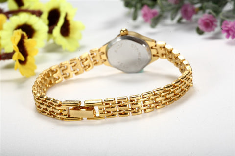 Round Dial Hot Sale Gold Plate Stainless Steel Quartz Hour Wrist watches