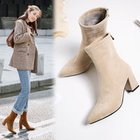 Fashion Ankle Elastic Sock Boots Chunky High Heels