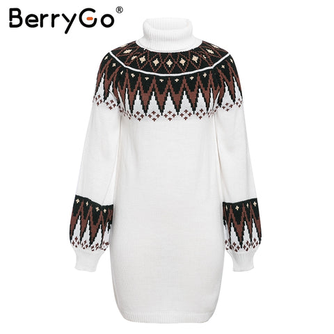 print knitted female Casual turtle neck pullover sweater dress