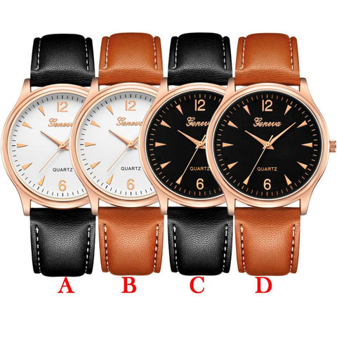 Leather Luxury Brand  Blue Ray Glass quartz watch