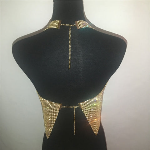 Club Party Sparkly Crop Top Luxury Crystal Tank Tops