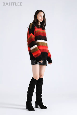 angora rabbit pullovers Knitting sweater O-NECK  keep warm loosefir Rainbow