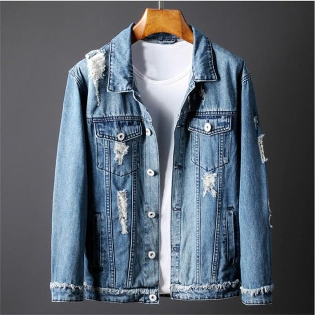 Ripped Letter printing Casual Slim Fit Hip Hop Denim Jackets