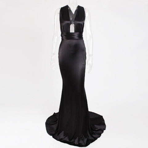 Sexy Satin Floor Length Party Hollow Out Straps Bodycon Dress