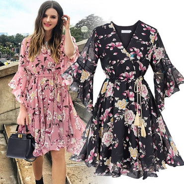 Bow A-line Women Butterfly Sleeve Flower Print Floral Boho Dress