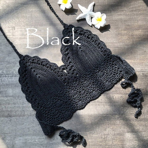 New Triangle Hollow Out Swimsuit Crochet Black Top Sexy Bikini