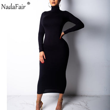 Sexy Bodycon Long Turtleneck Long Sleeve Club Party Midi Dress
