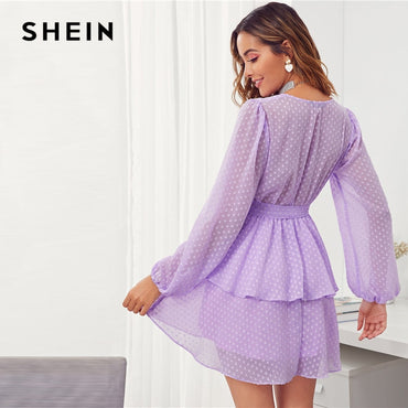Purple Deep V Neck Double Layer Sexy Ladies Belted Short Dresses