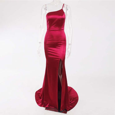 Sexy One Shoulder Sleeveless Bodycon Floor Length Dress Strapless Long Dress