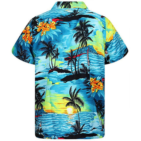 Fashion Casual Button Hawaii Print Beach Short Sleeve Quick Dry Dress Shirts