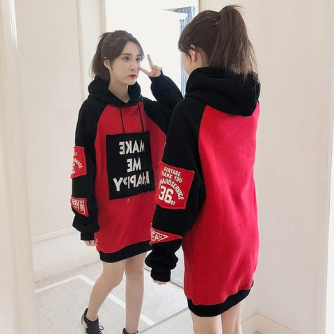 Casual Fleece Loose Long Sleeve Patchwork Long Pullover Hoodies