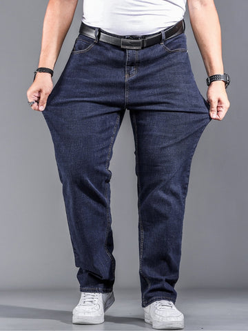 Stretch Plus Big Size Cotton Straight Denim Jeans