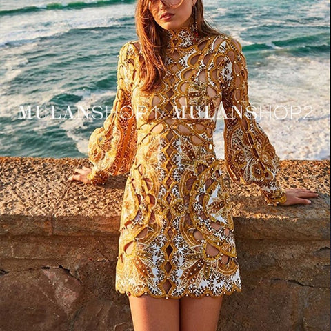 Luxury Brand Mini Sexy Hollow Out Golden Slim Straight Dress