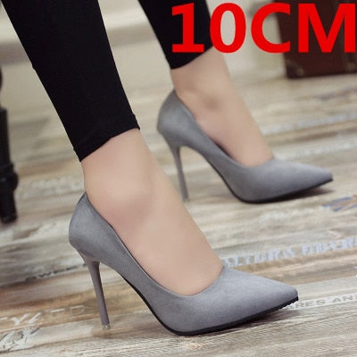 cute comfortable flock lady fashion sweet office black high heel