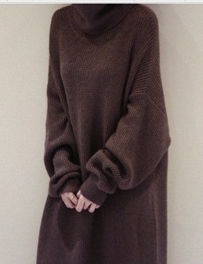 Knitted Turtleneck Long Sleeve Warm Sweater Casual Solid Loose Dress