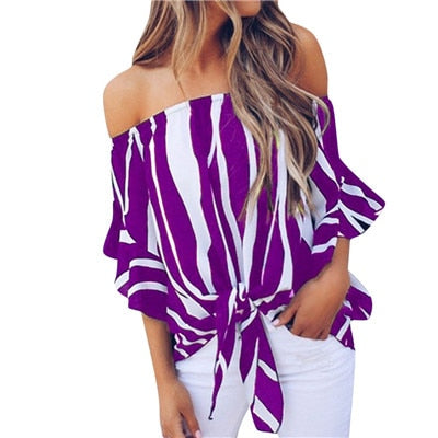 Striped Off Shoulder Blouse Short Sleeve Casual Shirts