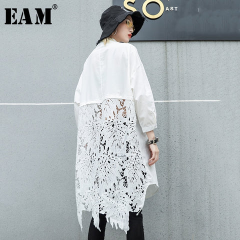 Stand Collar Long Sleeve Back Lace Hollow Out Spliced Big Size Shirt
