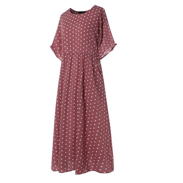 vintage O-Neck long maxi dress