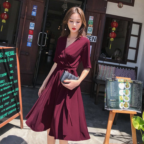 clothes solid color bohemian sexy halter strap red thin dress