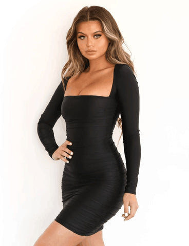 Long Sleeve Red Black White Casual Square Collar Ruched Sexy Bodycon Dresses