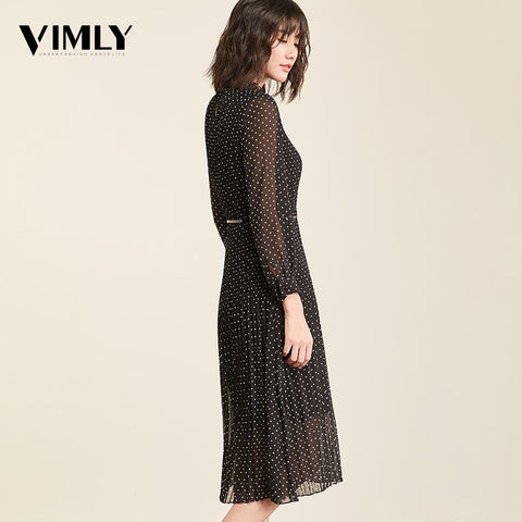 Full Sleeve Female Office Chiffon Dot Print A-line Vintage Dress
