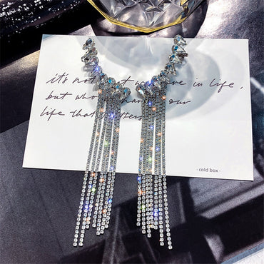 Fashion Long Tassel Full Rhinestone Drop Earrings