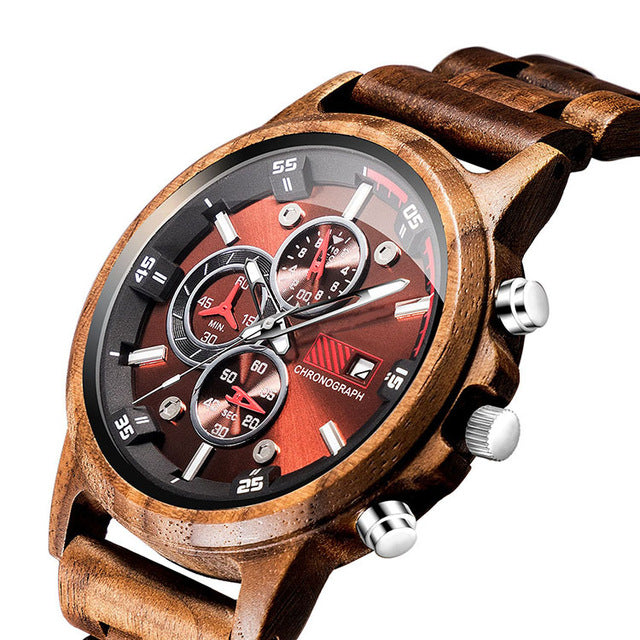 Hot Selling Bamboo Brand Chronograph Wholesale Custom Sport Watch