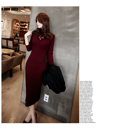 Sweater Knitted long red Slim Elastic Turtleneck Long Sleeve Sexy Dress