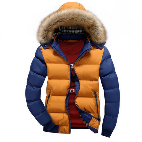 Warm Down Color Fashion Brand With Fur Hood Hat Outwear Coat Casual