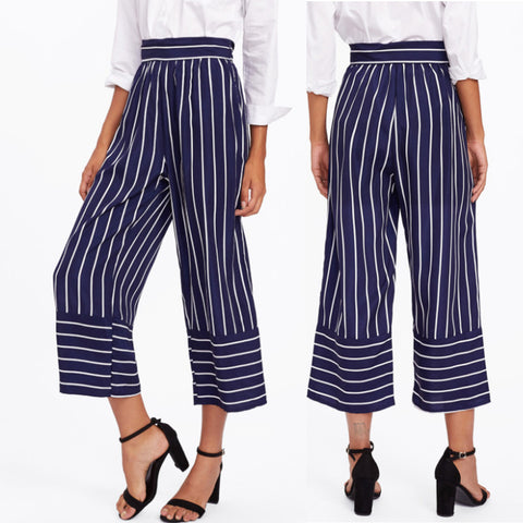 Boho Wide Leg High Waist Trousers Striped Palazzo Cropped Loose Pants