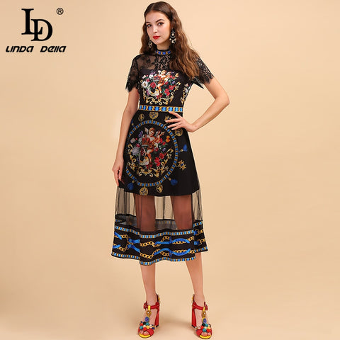 Runway Midi Lace Embroidery Angel Printed Mesh Splice Elegant Vintage Dresses