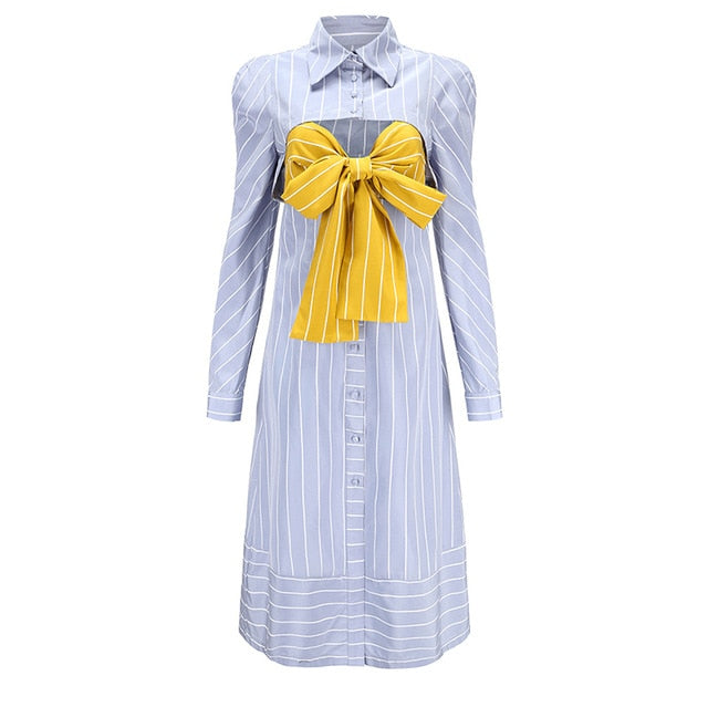 Lapel Long Sleeve Blue Striped Split Joint Loose Temperament Shirt Dress
