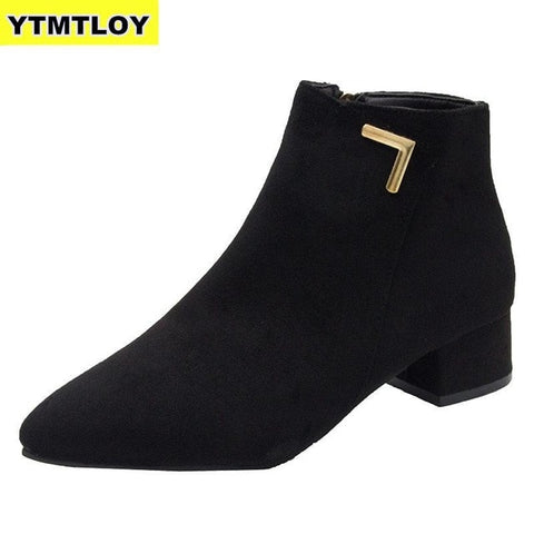 Fashion Boots Casual Leather Low High Heels Shoes