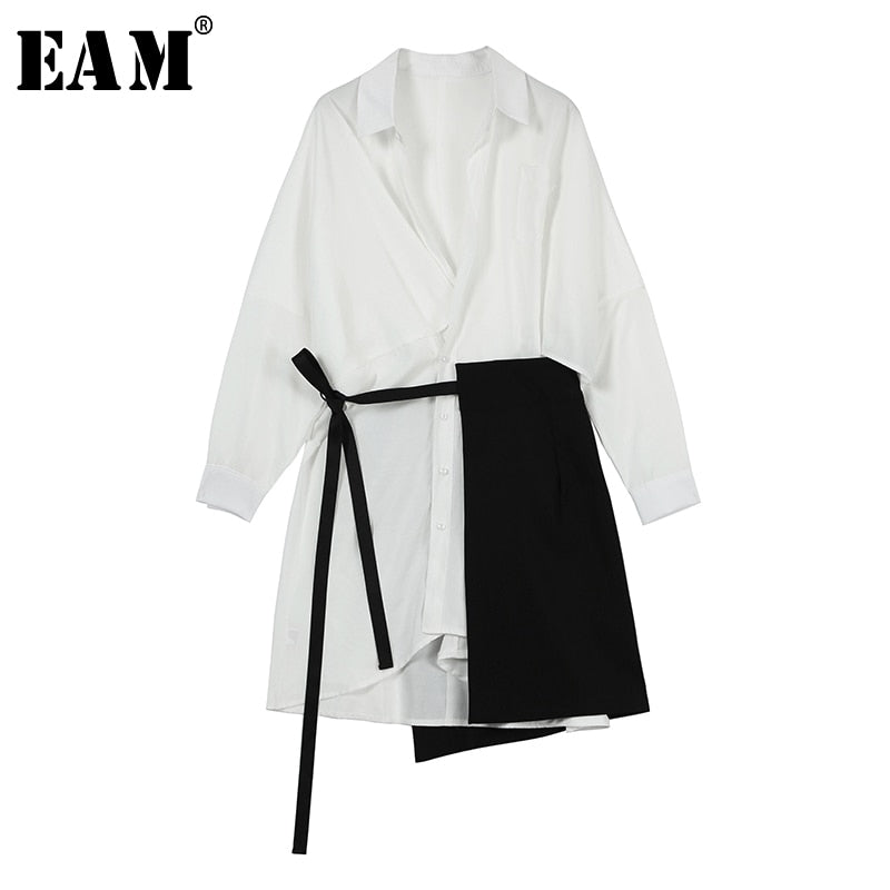 Lapel Long Sleeve White Loose Bandage Split Joint Two Piece Shirt Dress