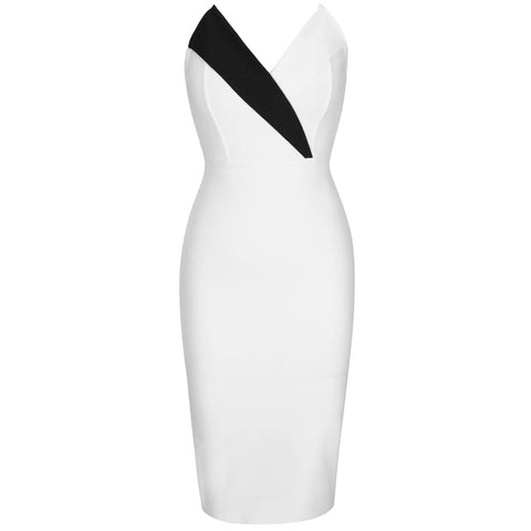 New Arrival Sexy Bodycon White Bandage Strapless Bandage Midi Dress