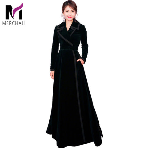 Vintage Notched Collar Wrap Black Velvet Maxi dress