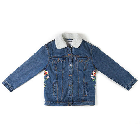 Denim Fancy Jacket Regular Loose Casual Artificial ambswool Embroidery Long