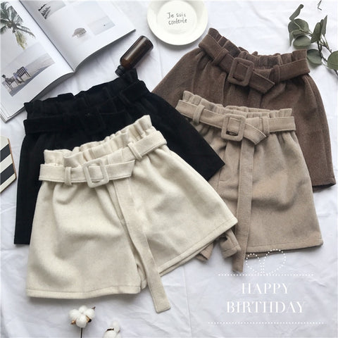 Elastic Waist Wide leg Shorts Vintage Thicken High waist Shorts